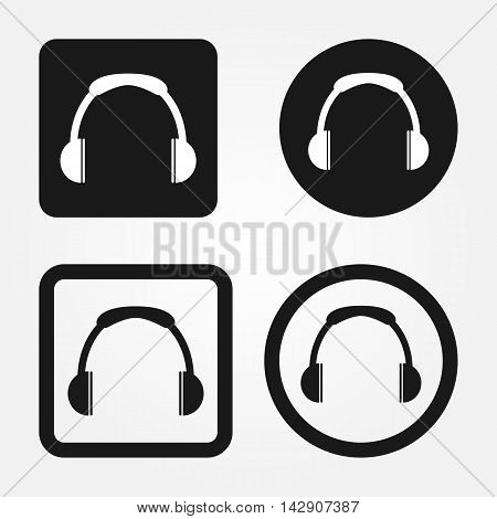 Set of web buttons with headphones icon. Round and square elements. Isolated.