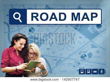 City Map Destination Route Way Route Concept
