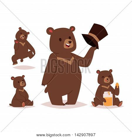 Collection of cute cartoon bear emotions icon. Brown character happy smiling bear