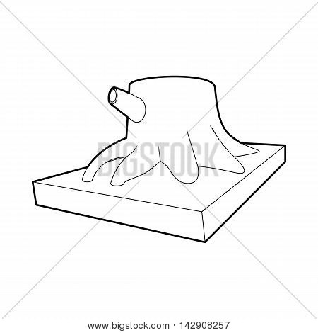 Stump icon in outline style isolated on white background. Felling symbol
