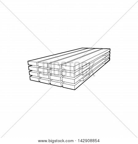 Wooden boards icon in outline style isolated on white background. Felling symbol