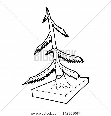 Cut fir icon in outline style isolated on white background. Felling symbol