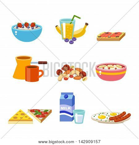 Healthy nutrition, proteins fats carbohydrates breakfast balanced diet, cooking, culinary and food concept vector.