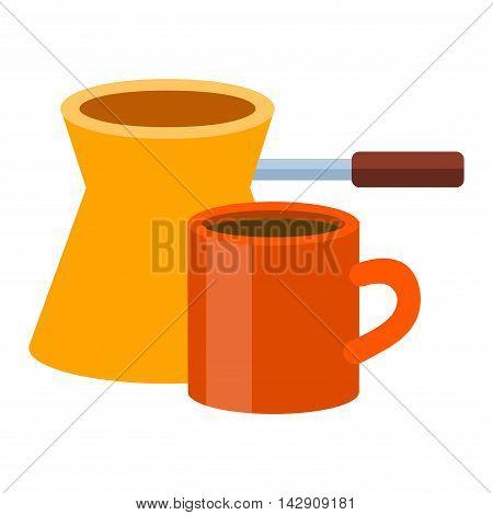 Turkish fishborn coffee pot prepared coffee. Ibrik cezve coffee pot