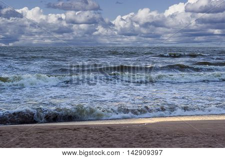 Storm on the sea. Beatiful nature composition.