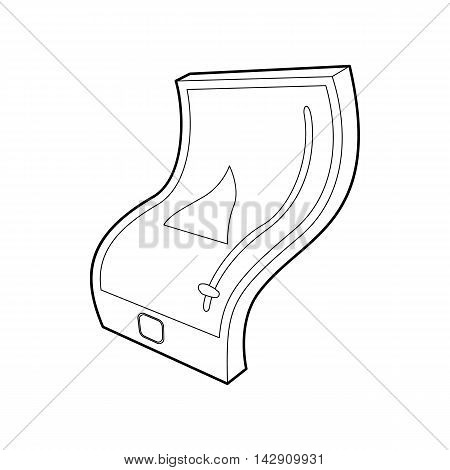 Flexible tablet icon in outline style isolated on white background. Gadget symbol