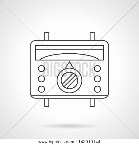 Warm floor appliances. Thermostat for underfloor heating remote control and regulation. Device with scale, switch and buttons. Flat line style vector icon.