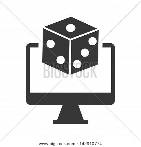 dice computer casino vegas icon. Flat and Isolated design. Vector illustration