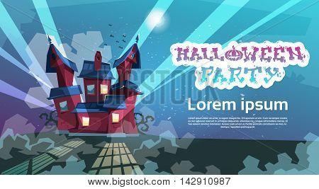 House Happy Halloween Party Invitation Card Flat Vector Illustration