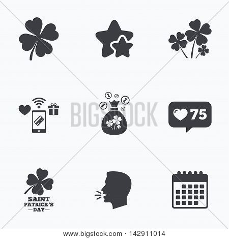 Saint Patrick day icons. Money bag with clovers and coins sign. Symbol of good luck. Flat talking head, calendar icons. Stars, like counter icons. Vector