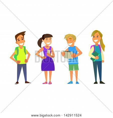 Students Elementary school. Schoolboy and schoolgirl together. Vector illustration of a flat design