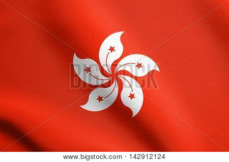 Flag of Hong Kong waving in the wind with detailed fabric texture. The Hong Kong is special administrative region of the People's Republic of China.