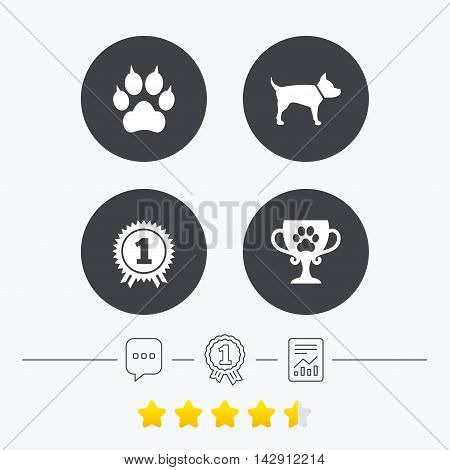 Pets icons. Cat paw with clutches sign. Winner cup and medal symbol. Dog silhouette. Chat, award medal and report linear icons. Star vote ranking. Vector