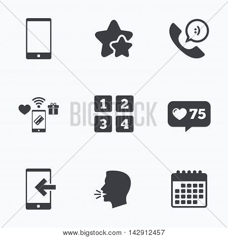 Phone icons. Smartphone incoming call sign. Call center support symbol. Cellphone keyboard symbol. Flat talking head, calendar icons. Stars, like counter icons. Vector