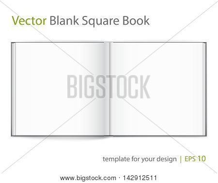 Vector blank of open magazine on neutral white background. Square format. Using mesh. Template