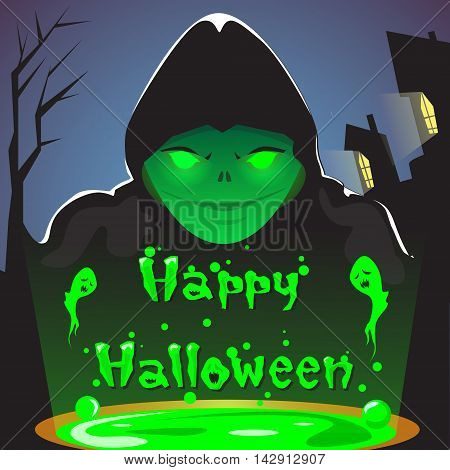Happy Halloween Wizard With Boiling Potion Party Invitation Card Flat Vector Illustration