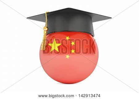 education and study in China concept 3D rendering isolated on white background