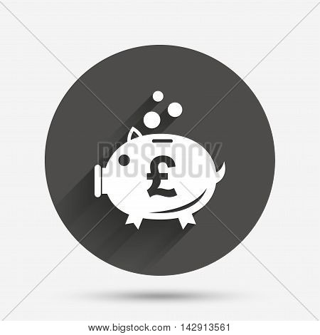 Piggy bank sign icon. Moneybox pound symbol. Circle flat button with shadow. Vector