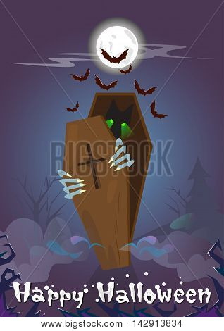 Happy Halloween Banner Zombie In Coffin Party Invitation Card Flat Vector Illustration