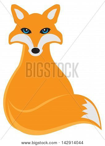 Fox Sitting Color Vector Illustration isolated on white