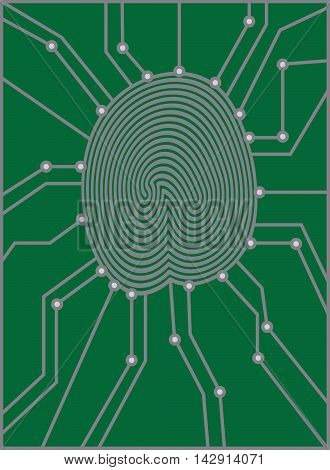 Thumbprint with Circuit Board for authentication identification black and white illustration