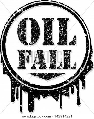 Oil fall black grunge style design, rubber stamp with drips of petrol