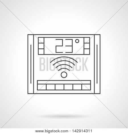 Electronic thermostat with 23 degrees on display. Underfloor heating wireless remote controller. Equipment and appliances for warm floor. Flat line style vector icon.