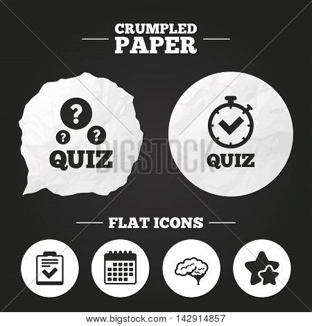 Crumpled paper speech bubble. Quiz icons. Human brain think. Checklist and stopwatch timer symbol. Survey poll or questionnaire feedback form sign. Paper button. Vector