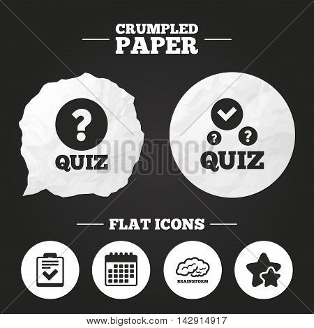 Crumpled paper speech bubble. Quiz icons. Human brain think. Checklist with check mark symbol. Survey poll or questionnaire feedback form sign. Paper button. Vector