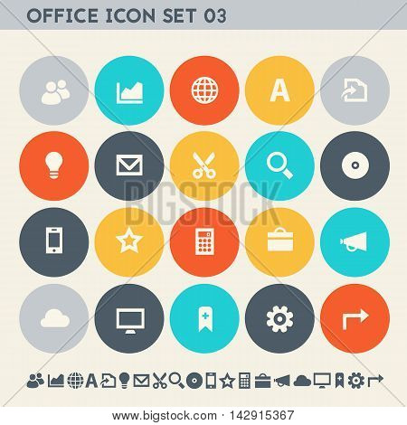Modern flat design multicolored office 3 icons collection