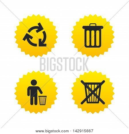 Recycle bin icons. Reuse or reduce symbols. Human throw in trash can. Recycling signs. Yellow stars labels with flat icons. Vector