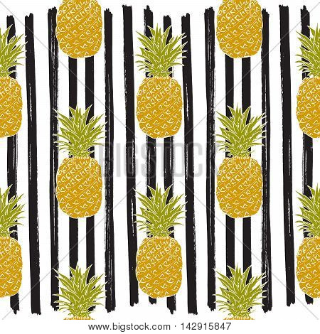 Pineapple Hand Drawn Sketch Striped Seamless Pattern. Vector Illustration.