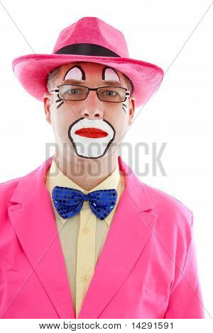 Portrait Of Male Clown In Pink