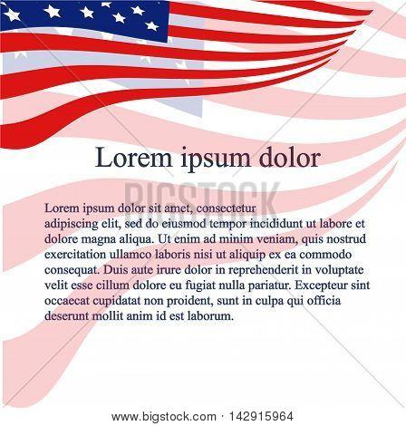 American flag background. Red, blue stylized flag on white, dark blue Lorem ipsum, vector illustration