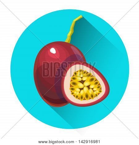 Passionfruit Colorful Fruit Icon Flat Vector Illustration