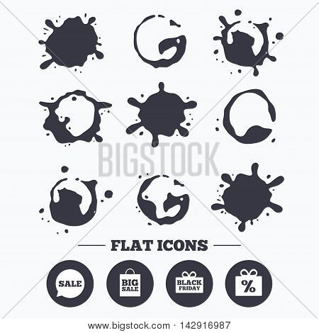 Paint, coffee or milk splash blots. Sale speech bubble icon. Black friday gift box symbol. Big sale shopping bag. Discount percent sign. Smudges splashes drops. Vector