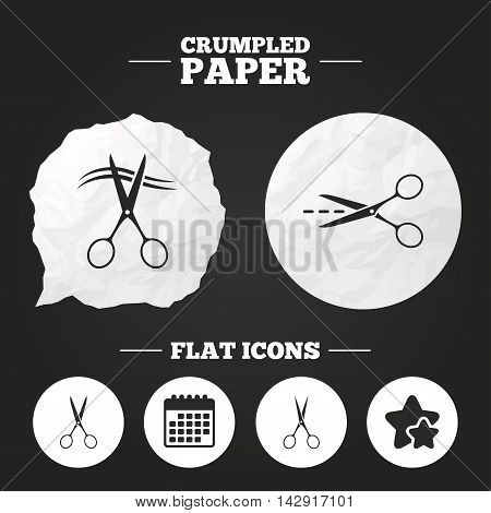 Crumpled paper speech bubble. Scissors icons. Hairdresser or barbershop symbol. Scissors cut hair. Cut dash dotted line. Tailor symbol. Paper button. Vector