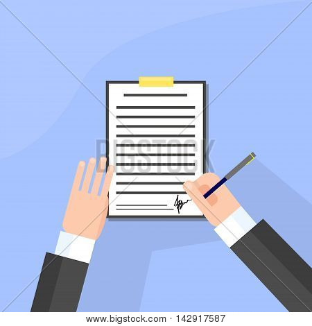 Business Man Signature Document Signing Up Contract, Businessman Sign Agreement Vector Illustration