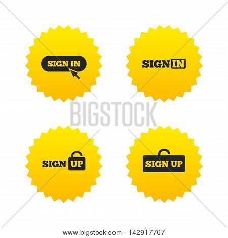 Sign in icons. Login with arrow, hand pointer symbols. Website or App navigation signs. Sign up locker. Yellow stars labels with flat icons. Vector