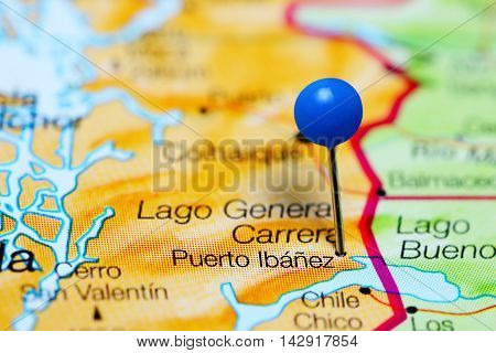 Puerto Ibanez pinned on a map of Chile