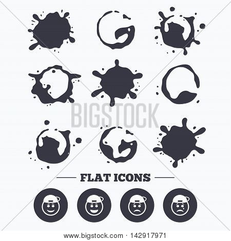 Paint, coffee or milk splash blots. Rapper smile face icons. Happy, sad, cry signs. Happy smiley chat symbol. Sadness depression and crying signs. Smudges splashes drops. Vector