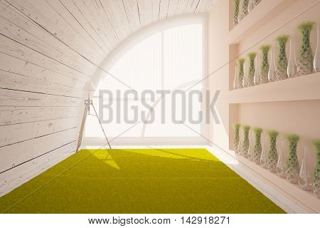 Creative loft designer interior with wooden wall and ceiling shelves with plants and vases green carpet that looks like grass and window with daylight. 3D Rendering