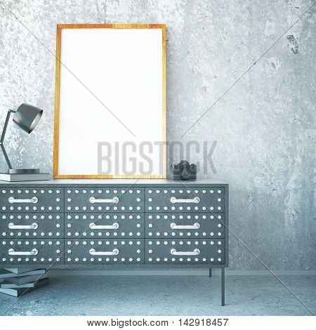 Iron cabinet with blank picture frame lamp book and camera in room with concrete floor and wall. Mock up 3D Rendering