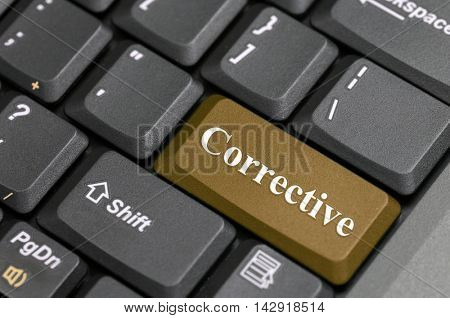Brown corrective key on keyboard