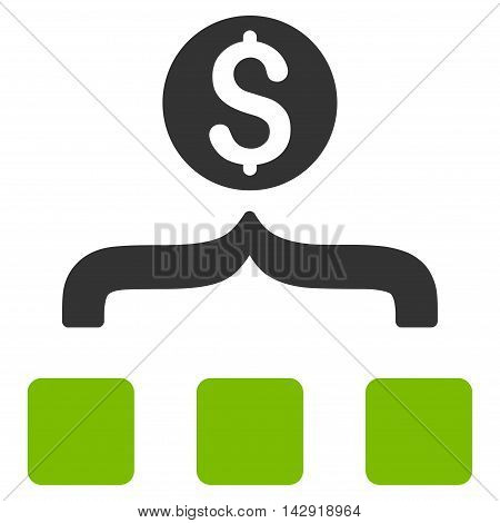 Money Aggregator icon. Vector style is bicolor flat iconic symbol with rounded angles, eco green and gray colors, white background.