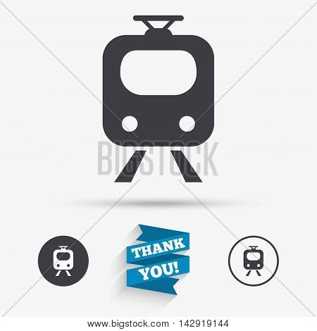 Subway sign icon. Train, underground symbol. Flat icons. Buttons with icons. Thank you ribbon. Vector