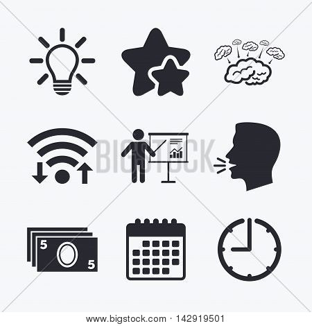 Presentation billboard, brainstorm icons. Cash money and lamp idea signs. Man standing with pointer. Scheme and Diagram symbol. Wifi internet, favorite stars, calendar and clock. Talking head. Vector