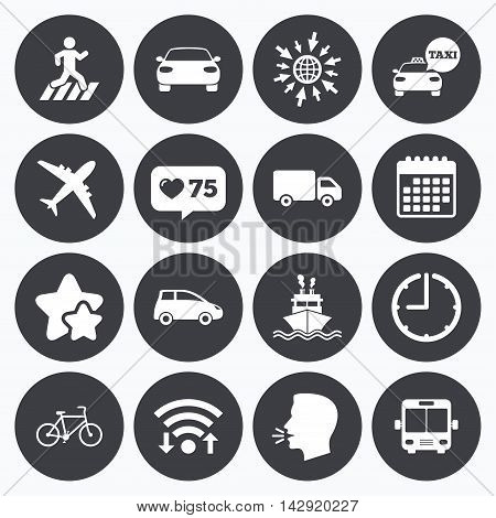 Calendar, wifi and clock symbols. Like counter, stars symbols. Transport icons. Car, bike, bus and taxi signs. Shipping delivery, pedestrian crossing symbols. Talking head, go to web symbols. Vector