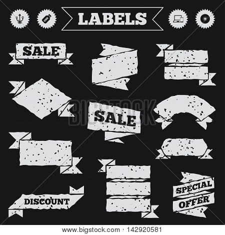 Stickers, tags and banners with grunge. Usb flash drive icons. Notebook or Laptop pc symbols. Smartphone device. CD or DVD sign. Compact disc. Sale or discount labels. Vector