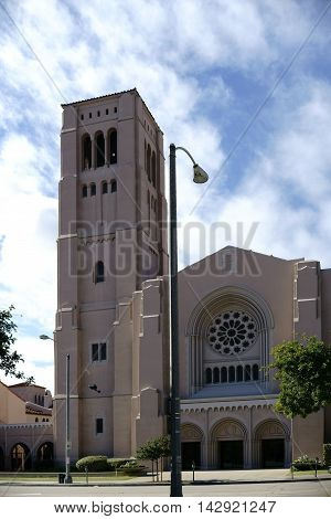 The tower and the entrance of the First Baptist Church on the North Marengo Avenue in Pasadena.